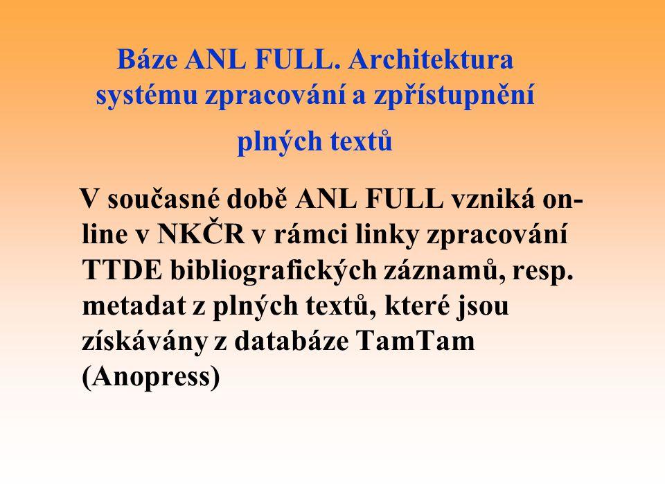 Báze ANL FULL. Architektura systému zpracování a zpřístupnění plných textů V současné době ANL FULL vzniká on- line v NKČR v rámci linky zpracování TT