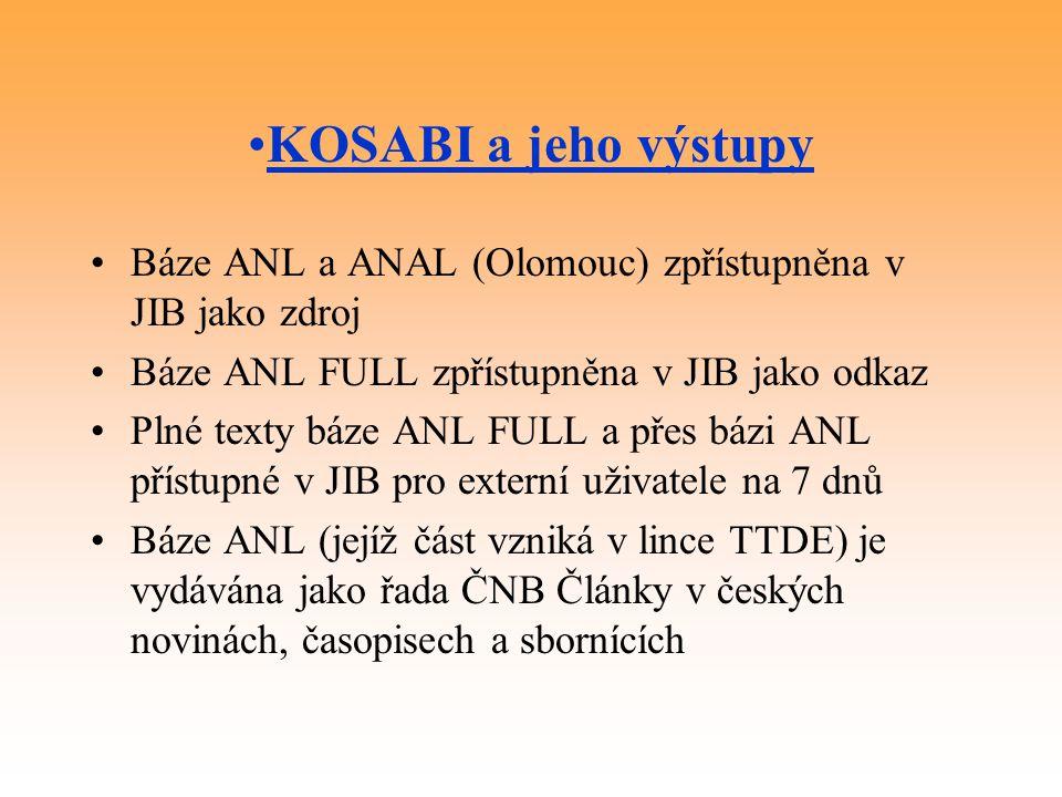 KOSABI a jeho výstupy Báze ANL a ANAL (Olomouc) zpřístupněna v JIB jako zdroj Báze ANL FULL zpřístupněna v JIB jako odkaz Plné texty báze ANL FULL a p