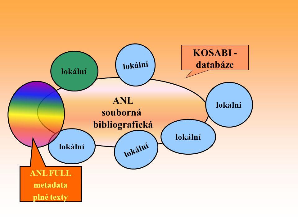 ANL souborná bibliografická lokální KOSABI - databáze lokální ANL FULL metadata plné texty