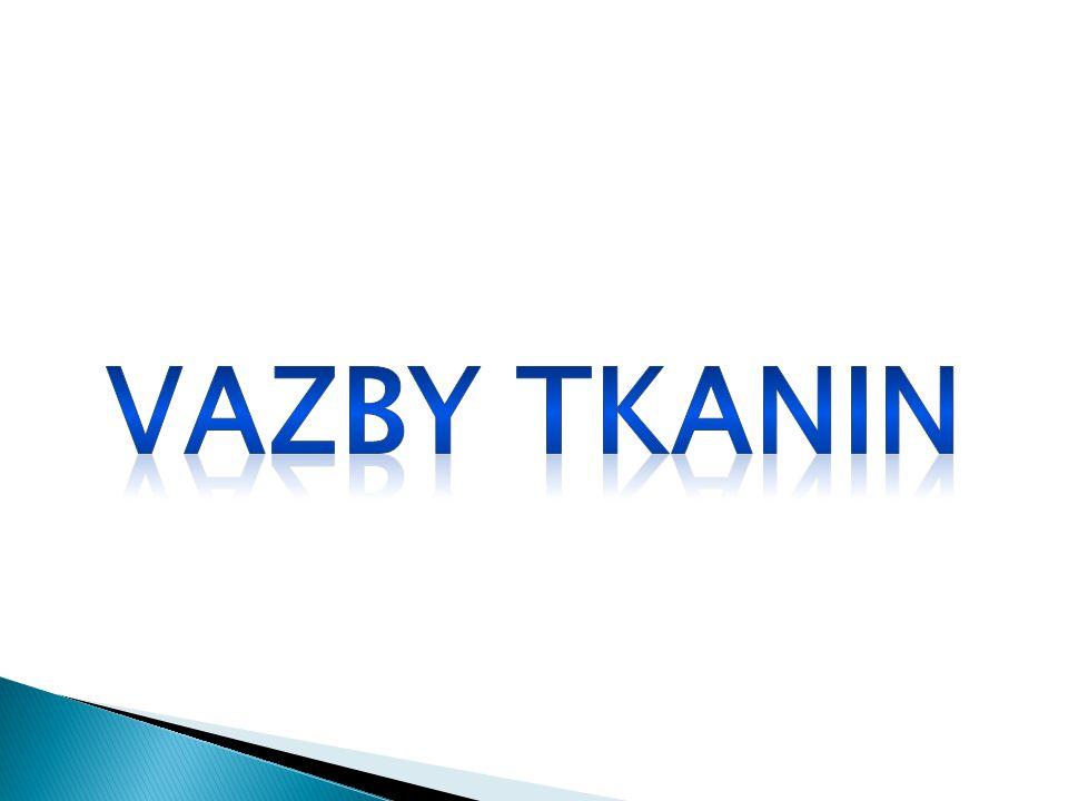 V AZBY TKANIN TKANINYse vyrábějí vzájemným provazováním dvou soustav nití na sebe kolmých TKANINY se vyrábějí vzájemným provazováním dvou soustav nití na sebe kolmých Osnova podélná soustava nití ve tkanině Osnova – podélná soustava nití ve tkanině Útek – příčná soustava nití ve tkanině