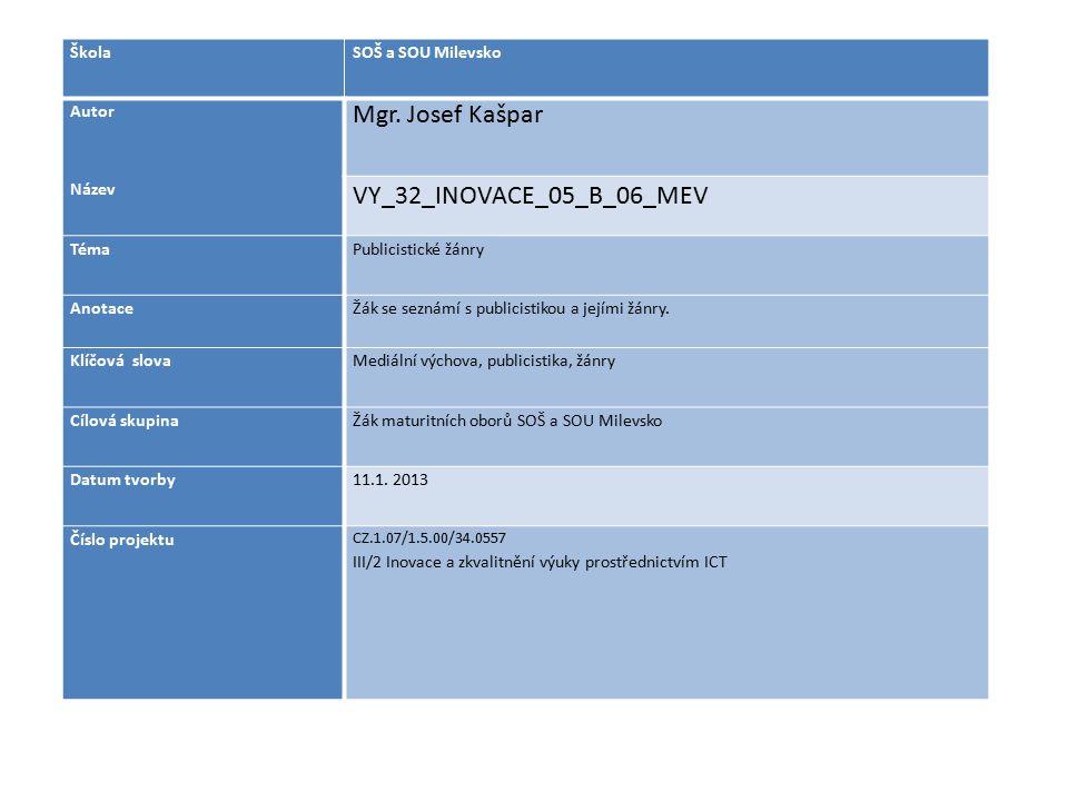 ŠkolaSOŠ a SOU Milevsko Autor Mgr. Josef Kašpar Název VY_32_INOVACE_05_B_06_MEV TémaPublicistické žánry AnotaceŽák se seznámí s publicistikou a jejími