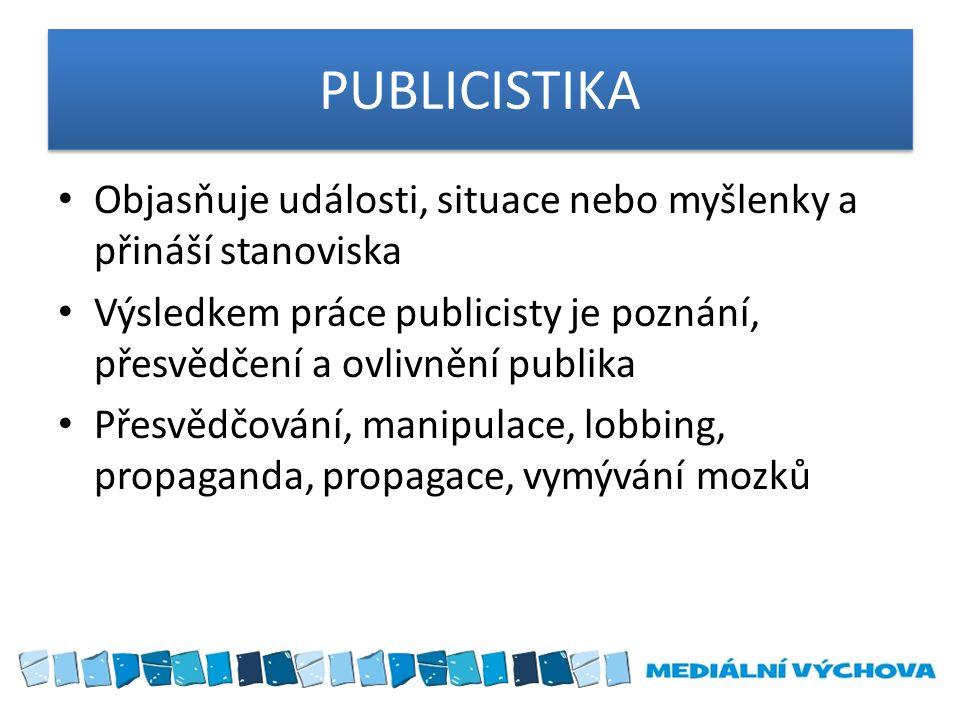 PUBLICISTIKA Objasňuje události, situace nebo myšlenky a přináší stanoviska Výsledkem práce publicisty je poznání, přesvědčení a ovlivnění publika Pře