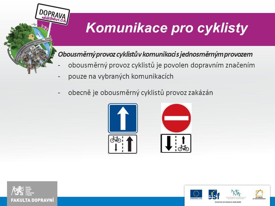 Komunikace pro cyklisty Obousměrný provoz cyklistů v komunikaci s jednosměrným provozem -obousměrný provoz cyklistů je povolen dopravním značením -pou