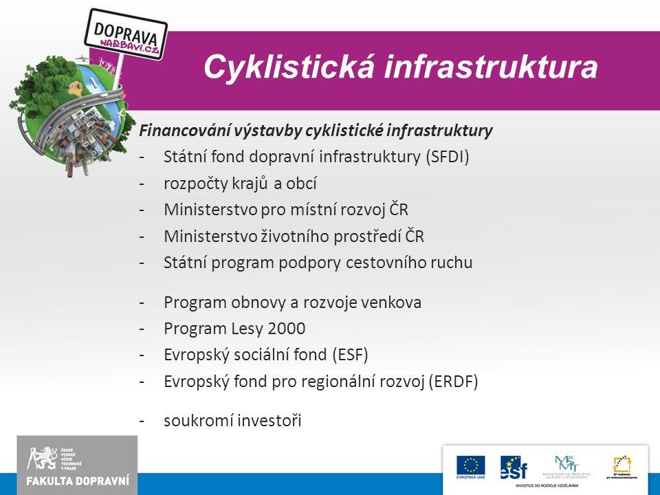 Cyklistická infrastruktura Financování výstavby cyklistické infrastruktury -Státní fond dopravní infrastruktury (SFDI) -rozpočty krajů a obcí -Ministe
