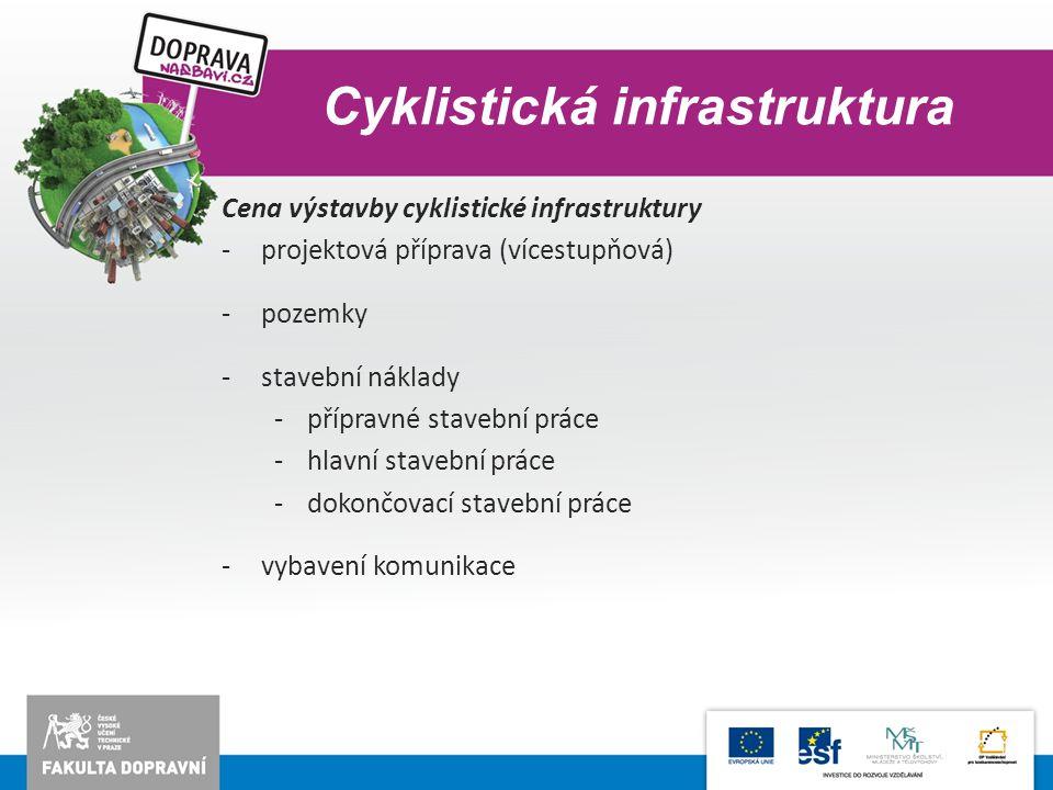 Cyklistická infrastruktura Cena výstavby cyklistické infrastruktury -projektová příprava (vícestupňová) -pozemky -stavební náklady -přípravné stavební