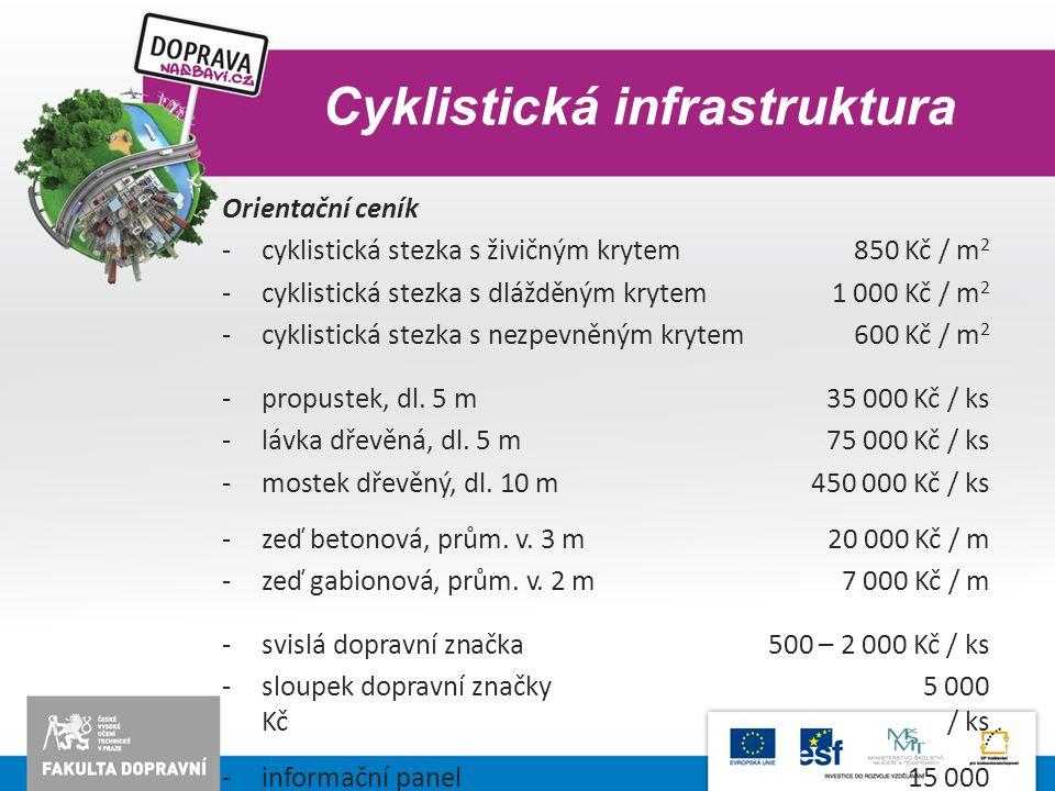 Cyklistická infrastruktura Orientační ceník -cyklistická stezka s živičným krytem850 Kč / m 2 -cyklistická stezka s dlážděným krytem1 000 Kč / m 2 -cy