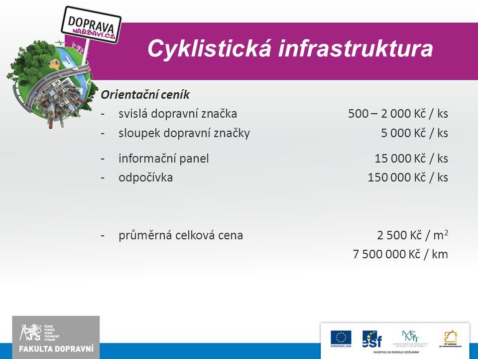 Cyklistická infrastruktura Orientační ceník -svislá dopravní značka500 – 2 000 Kč / ks -sloupek dopravní značky5 000 Kč / ks -informační panel15 000 K