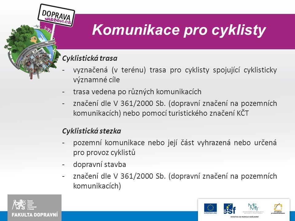 Komunikace pro cyklisty Cyklistická trasa -vyznačená (v terénu) trasa pro cyklisty spojující cyklisticky významné cíle -trasa vedena po různých komuni