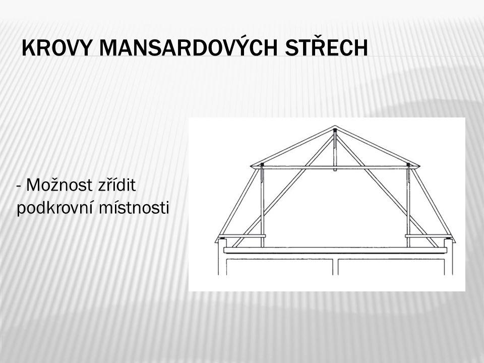 KROVY MANSARDOVÝCH STŘECH - Možnost zřídit podkrovní místnosti