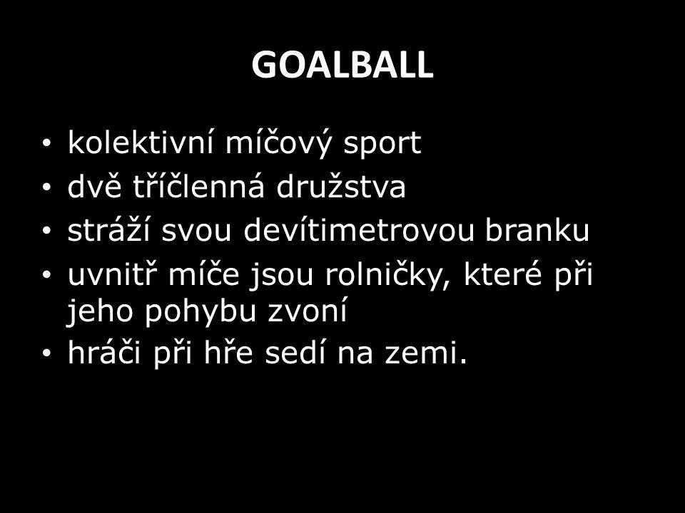 GOALBALL kolektivní míčový sport dvě tříčlenná družstva stráží svou devítimetrovou branku uvnitř míče jsou rolničky, které při jeho pohybu zvoní hráči