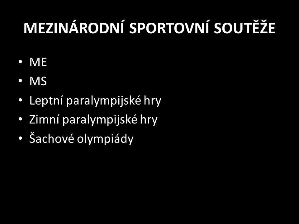 MEZINÁRODNÍ SPORTOVNÍ SOUTĚŽE ME MS Leptní paralympijské hry Zimní paralympijské hry Šachové olympiády