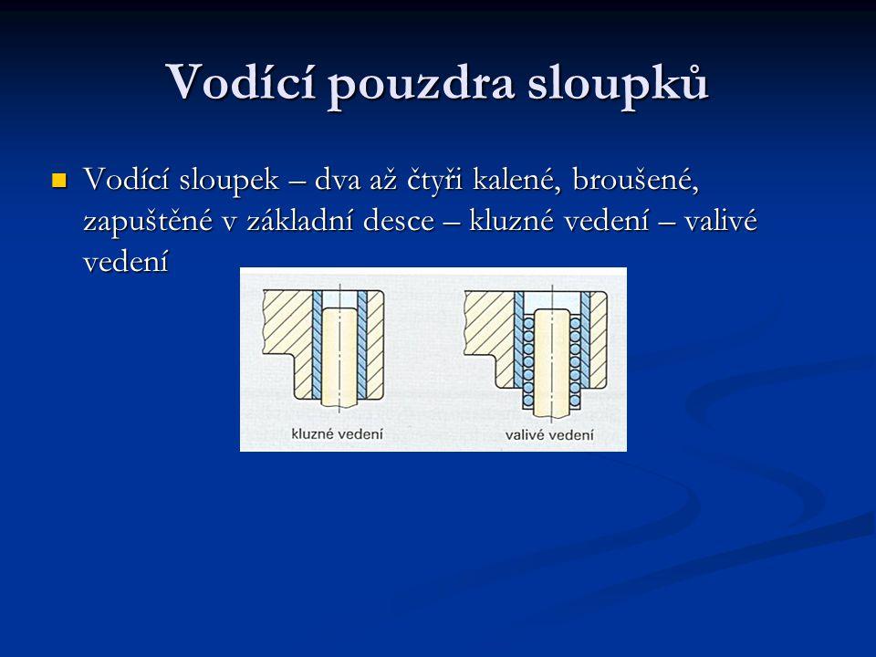 Vodící pouzdra sloupků Vodící sloupek – dva až čtyři kalené, broušené, zapuštěné v základní desce – kluzné vedení – valivé vedení
