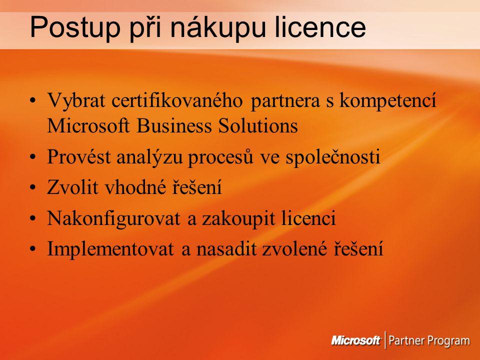 Postup při nákupu licence Vybrat certifikovaného partnera s kompetencí Microsoft Business Solutions Provést analýzu procesů ve společnosti Zvolit vhodné řešení Nakonfigurovat a zakoupit licenci Implementovat a nasadit zvolené řešení