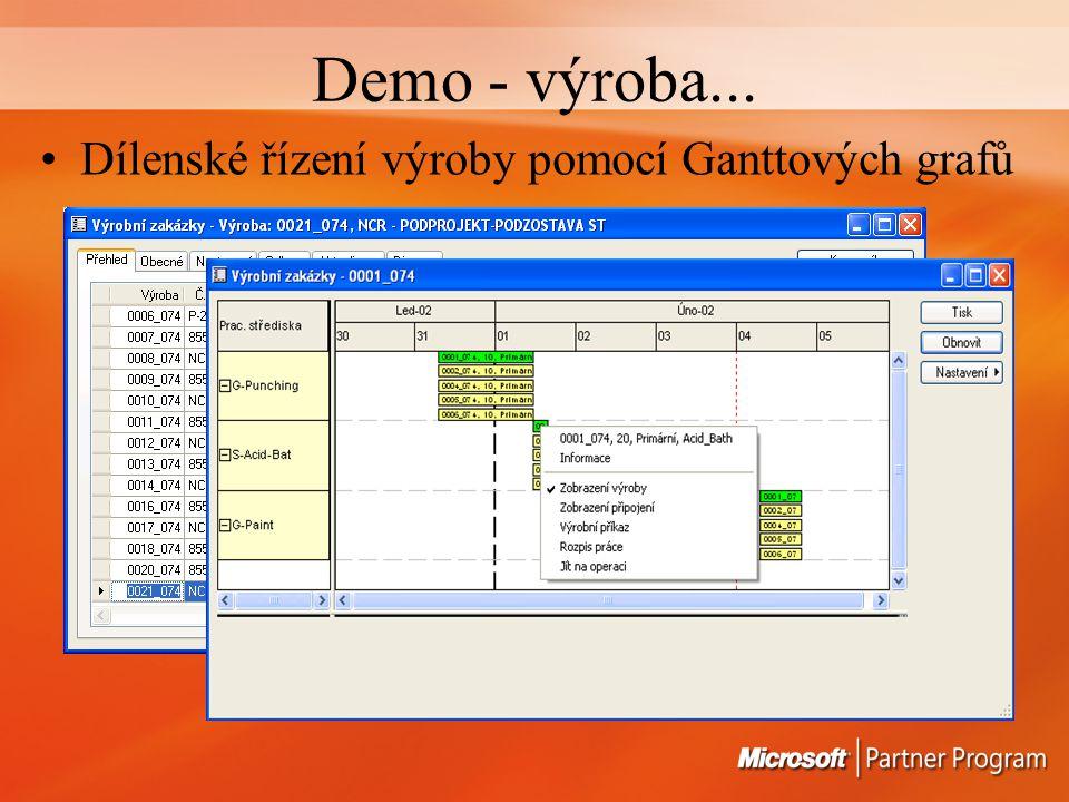 Demo - výroba... Dílenské řízení výroby pomocí Ganttových grafů