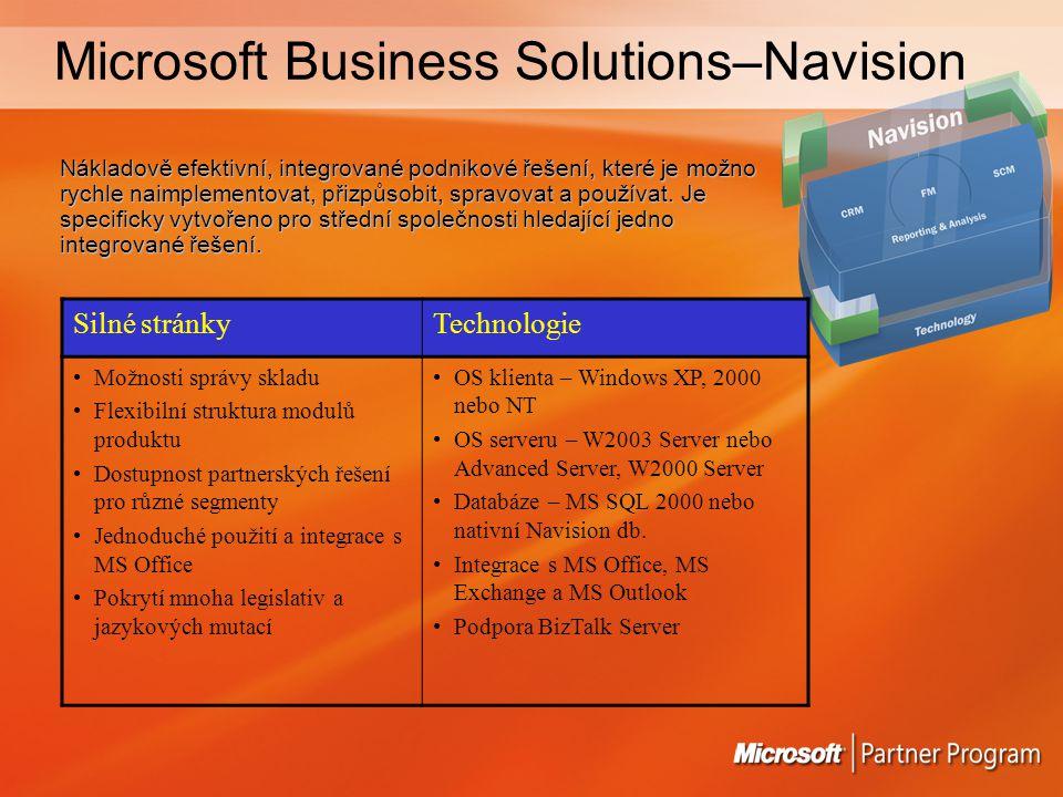 Microsoft Business Solutions–Navision Nákladově efektivní, integrované podnikové řešení, které je možno rychle naimplementovat, přizpůsobit, spravovat a používat.