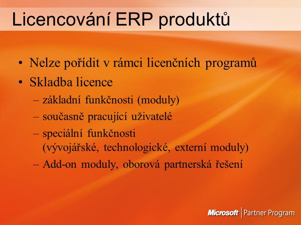 Licencování ERP produktů Nelze pořídit v rámci licenčních programů Skladba licence –základní funkčnosti (moduly) –současně pracující uživatelé –speciální funkčnosti (vývojářské, technologické, externí moduly) –Add-on moduly, oborová partnerská řešení