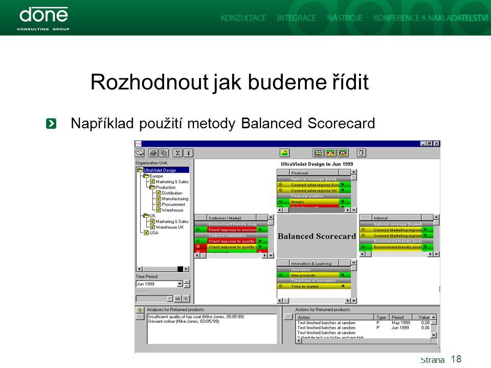 Strana Rozhodnout jak budeme řídit Například použití metody Balanced Scorecard 18