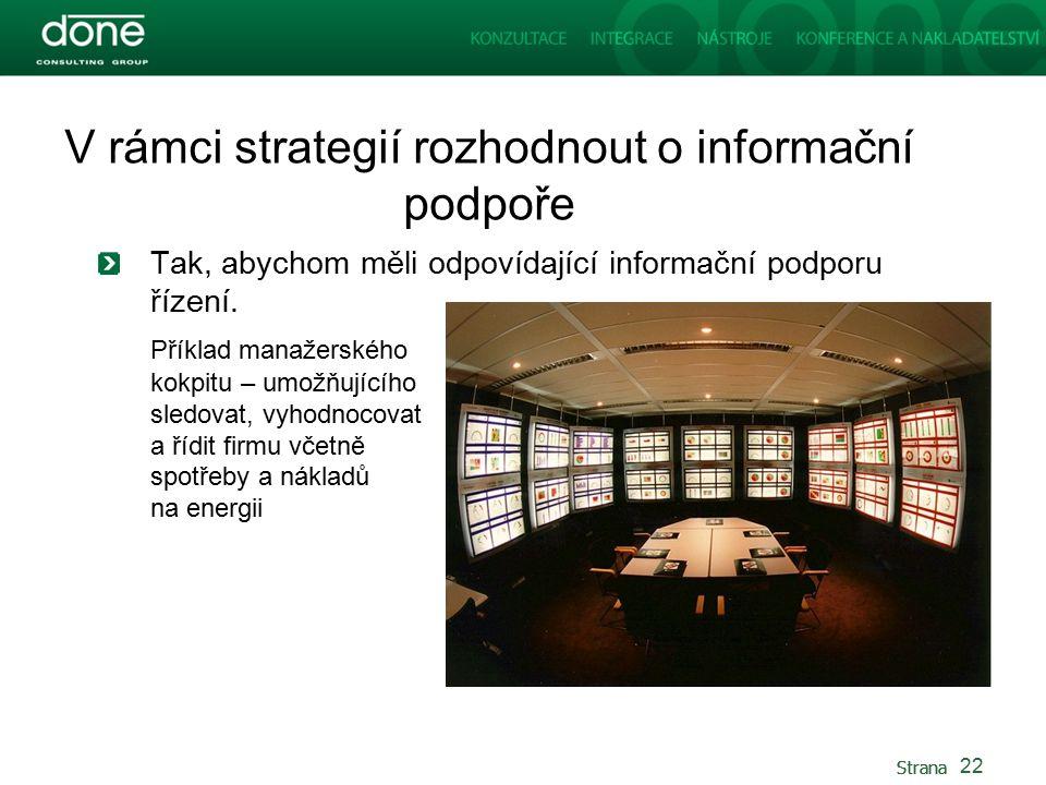Strana V rámci strategií rozhodnout o informační podpoře Tak, abychom měli odpovídající informační podporu řízení.