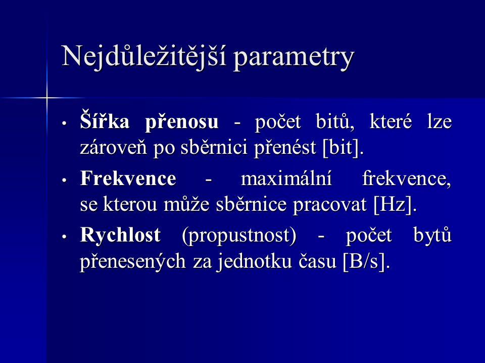 Nejdůležitější parametry Šířka přenosu - počet bitů, které lze zároveň po sběrnici přenést [bit].