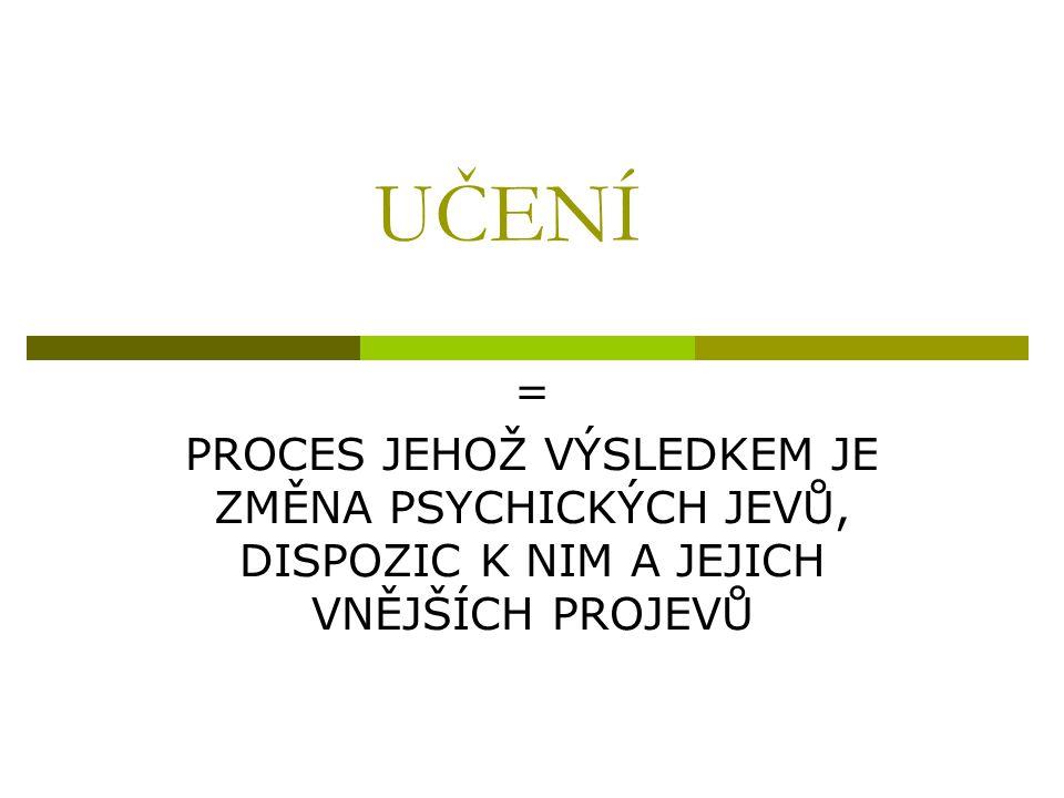 UČENÍ = PROCES JEHOŽ VÝSLEDKEM JE ZMĚNA PSYCHICKÝCH JEVŮ, DISPOZIC K NIM A JEJICH VNĚJŠÍCH PROJEVŮ