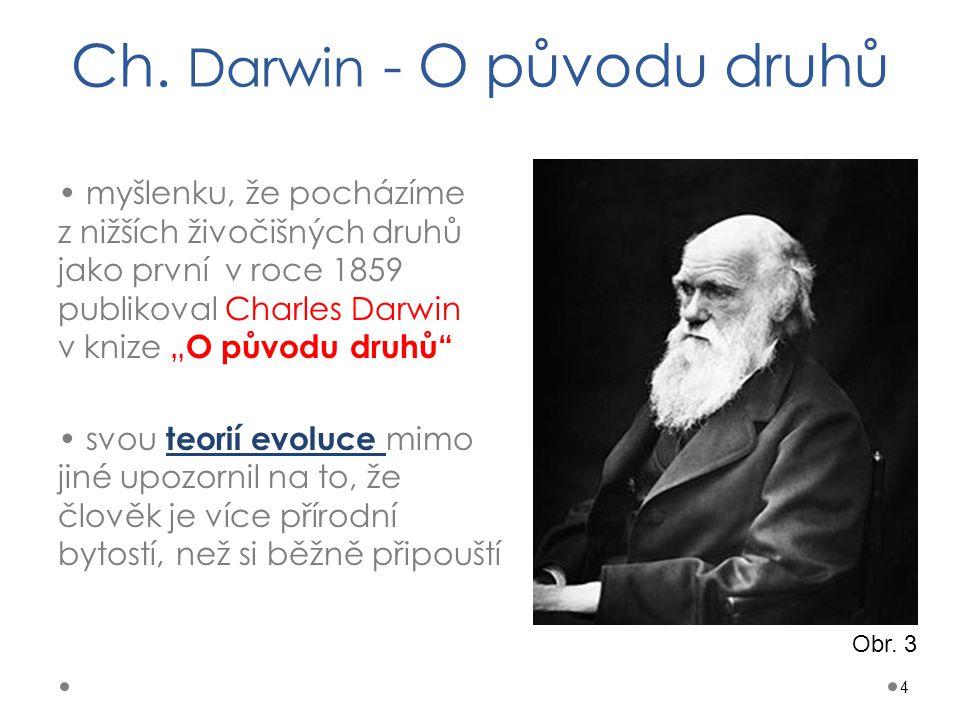 """Ch. Darwin - O původu druhů myšlenku, že pocházíme z nižších živočišných druhů jako první v roce 1859 publikoval Charles Darwin v knize """" O původu dru"""