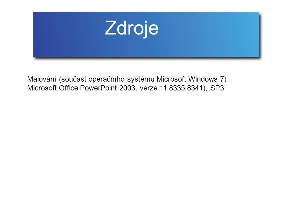 Malování (součást operačního systému Microsoft Windows 7) Microsoft Office PowerPoint 2003, verze 11.8335.8341), SP3