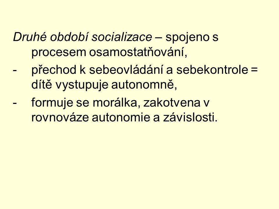Druhé období socializace – spojeno s procesem osamostatňování, -přechod k sebeovládání a sebekontrole = dítě vystupuje autonomně, -formuje se morálka, zakotvena v rovnováze autonomie a závislosti.