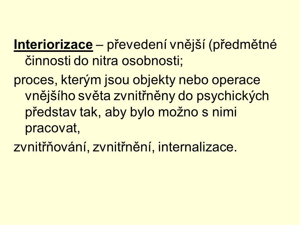Interiorizace – převedení vnější (předmětné činnosti do nitra osobnosti; proces, kterým jsou objekty nebo operace vnějšího světa zvnitřněny do psychických představ tak, aby bylo možno s nimi pracovat, zvnitřňování, zvnitřnění, internalizace.