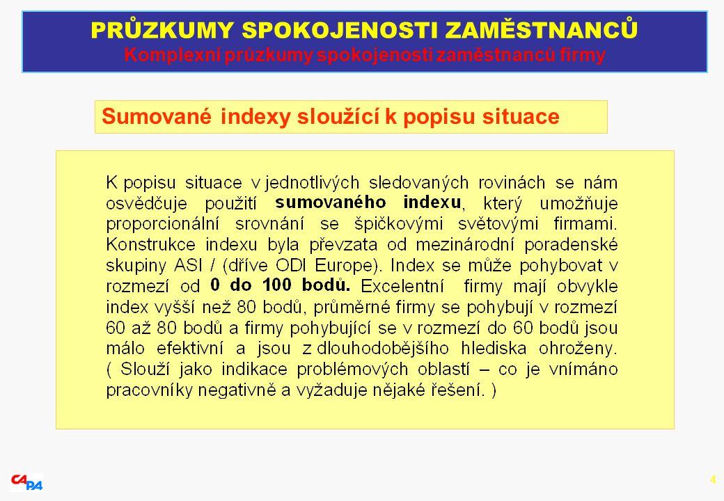 4 Sumované indexy sloužící k popisu situace