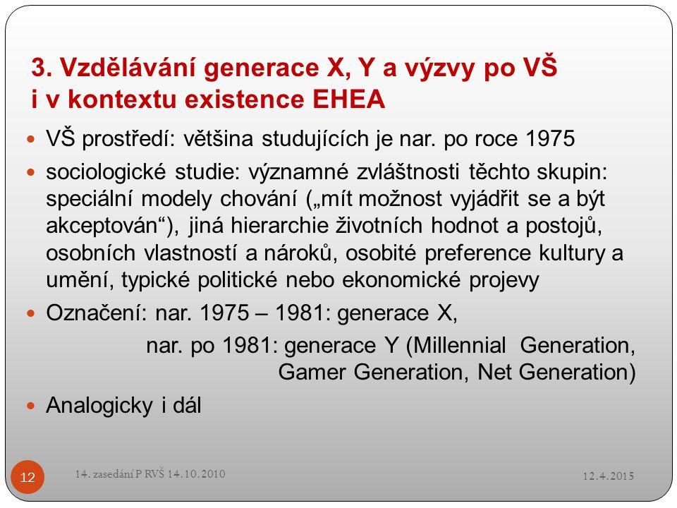 3. Vzdělávání generace X, Y a výzvy po VŠ i v kontextu existence EHEA VŠ prostředí: většina studujících je nar. po roce 1975 sociologické studie: význ