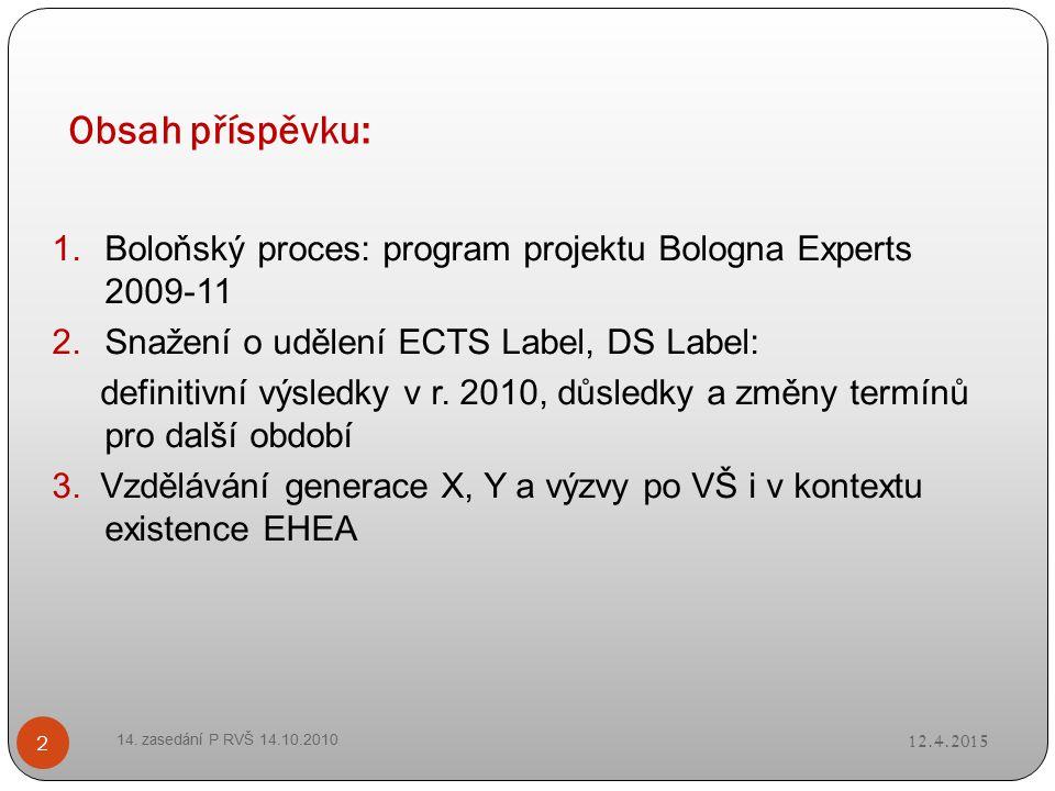 Obsah příspěvku: 12.4.2015 14. zasedání P RVŠ 14.10.2010 2 1.Boloňský proces: program projektu Bologna Experts 2009-11 2.Snažení o udělení ECTS Label,