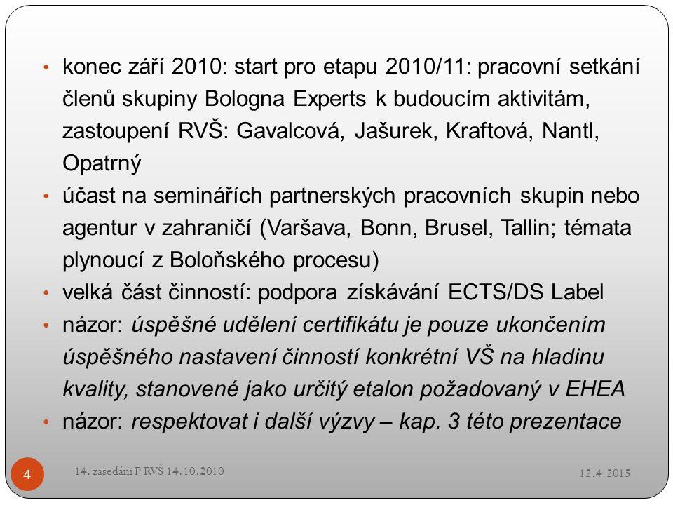 12.4.2015 14. zasedání P RVŠ 14.10.2010 4 konec září 2010: start pro etapu 2010/11: pracovní setkání členů skupiny Bologna Experts k budoucím aktivitá