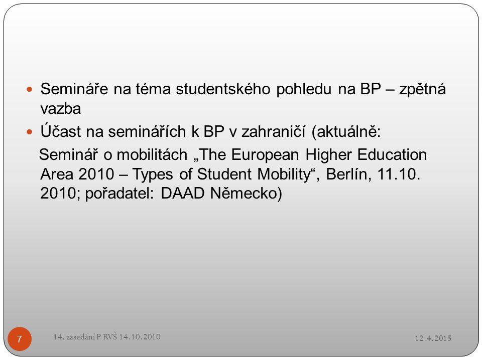 """Semináře na téma studentského pohledu na BP – zpětná vazba Účast na seminářích k BP v zahraničí (aktuálně: Seminář o mobilitách """"The European Higher E"""