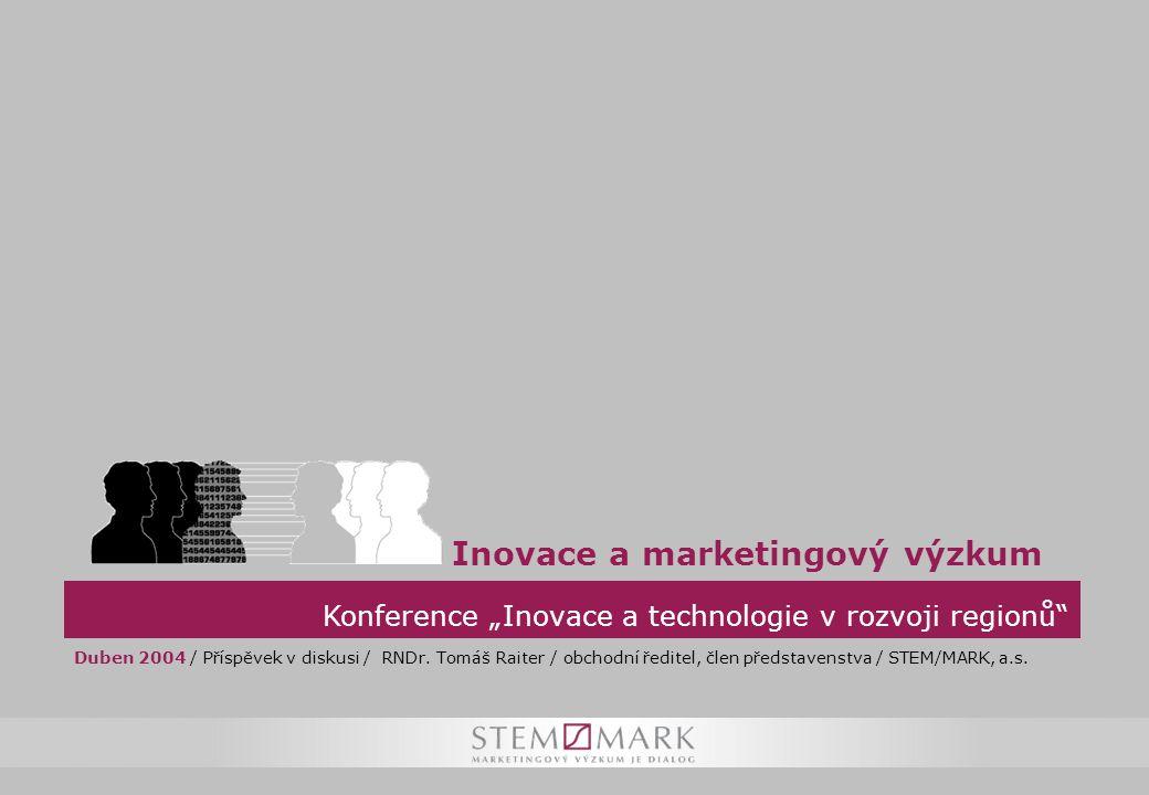 """Konference """"Inovace a technologie v rozvoji regionů Inovace a marketingový výzkum Duben 2004 / Příspěvek v diskusi / RNDr."""