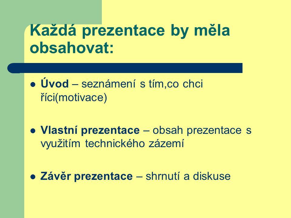 Každá prezentace by měla obsahovat: Úvod – seznámení s tím,co chci říci(motivace) Vlastní prezentace – obsah prezentace s využitím technického zázemí Závěr prezentace – shrnutí a diskuse