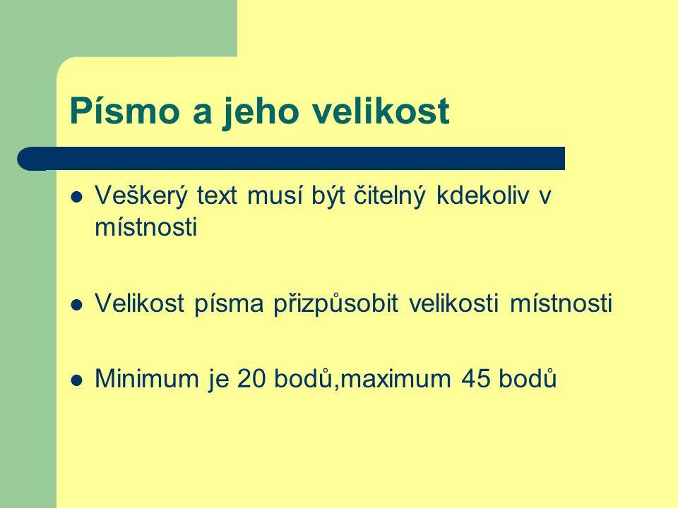Písmo a jeho velikost Veškerý text musí být čitelný kdekoliv v místnosti Velikost písma přizpůsobit velikosti místnosti Minimum je 20 bodů,maximum 45