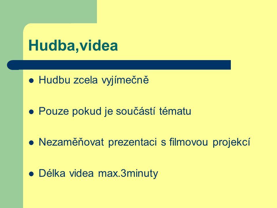 Hudba,videa Hudbu zcela vyjímečně Pouze pokud je součástí tématu Nezaměňovat prezentaci s filmovou projekcí Délka videa max.3minuty