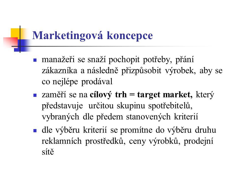 Marketingová koncepce manažeři se snaží pochopit potřeby, přání zákazníka a následně přizpůsobit výrobek, aby se co nejlépe prodával zaměří se na cílový trh = target market, který představuje určitou skupinu spotřebitelů, vybraných dle předem stanovených kriterií dle výběru kriterií se promítne do výběru druhu reklamních prostředků, ceny výrobků, prodejní sítě