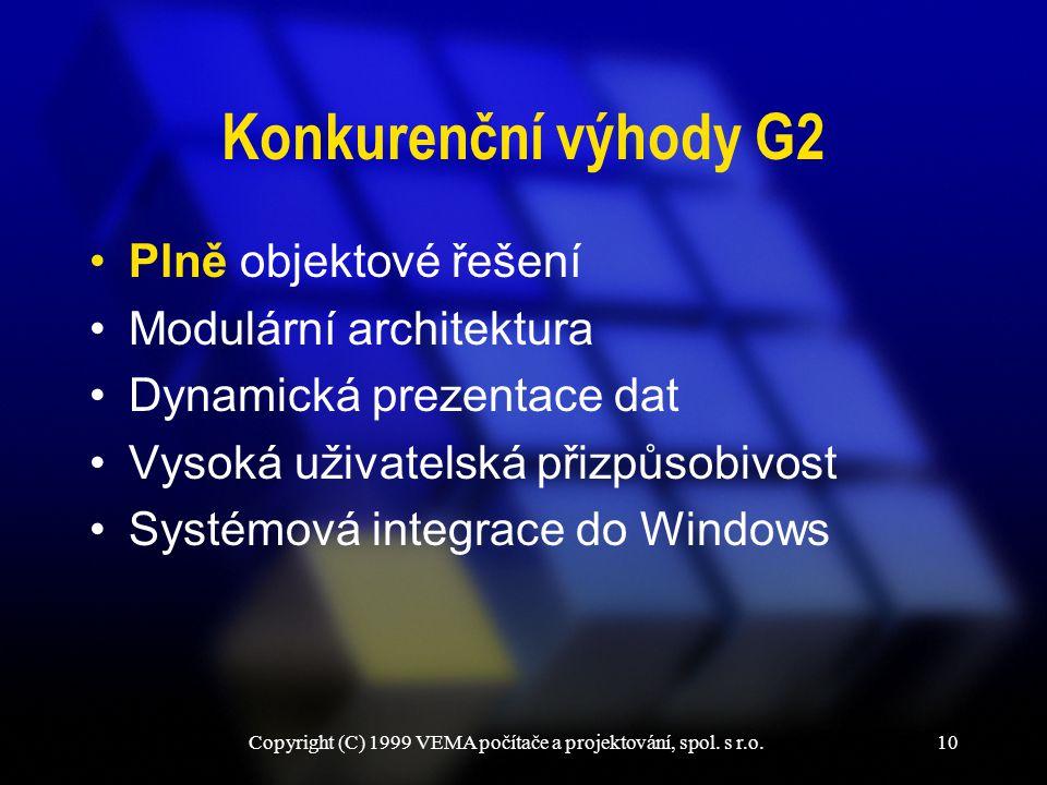 Copyright (C) 1999 VEMA počítače a projektování, spol. s r.o.10 Konkurenční výhody G2 Plně objektové řešení Modulární architektura Dynamická prezentac