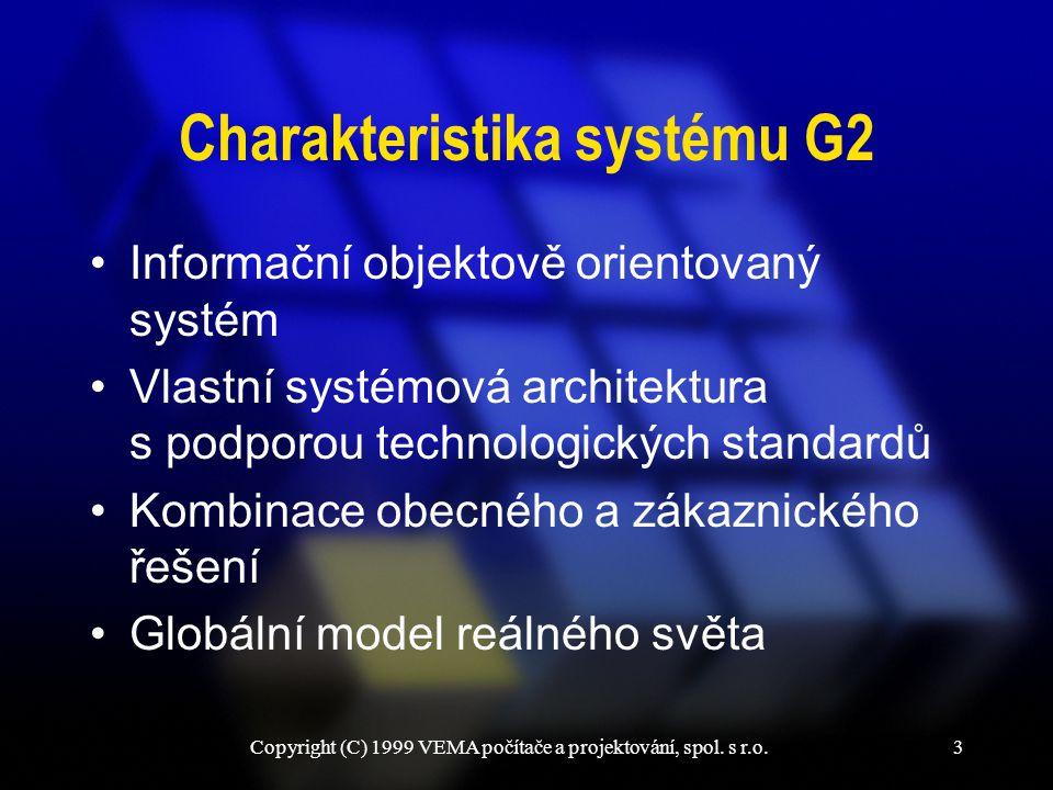 Copyright (C) 1999 VEMA počítače a projektování, spol. s r.o.3 Charakteristika systému G2 Informační objektově orientovaný systém Vlastní systémová ar