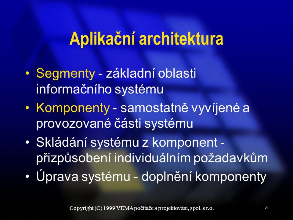 Copyright (C) 1999 VEMA počítače a projektování, spol. s r.o.4 Aplikační architektura Segmenty - základní oblasti informačního systému Komponenty - sa