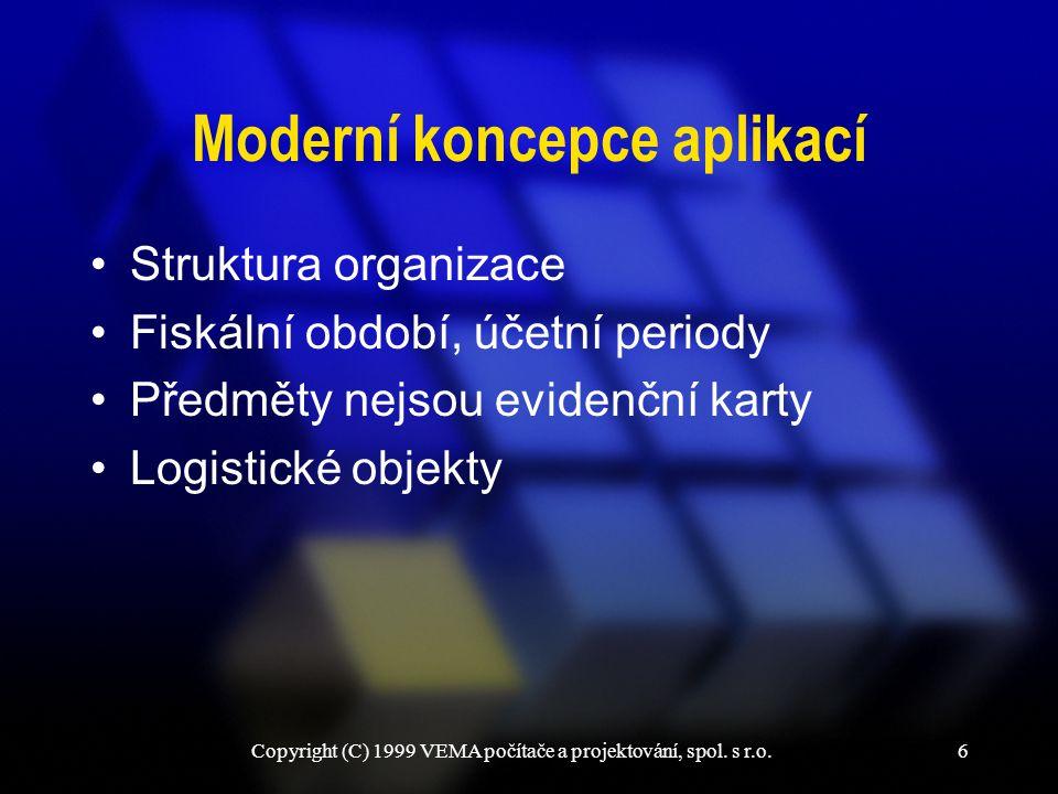Copyright (C) 1999 VEMA počítače a projektování, spol. s r.o.6 Moderní koncepce aplikací Struktura organizace Fiskální období, účetní periody Předměty