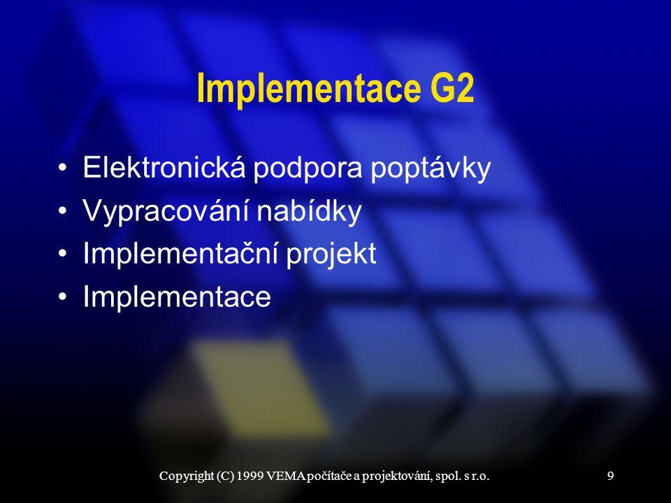 Copyright (C) 1999 VEMA počítače a projektování, spol. s r.o.9 Implementace G2 Elektronická podpora poptávky Vypracování nabídky Implementační projekt