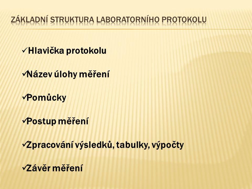 Hlavička protokolu Název úlohy měření Pomůcky Postup měření Zpracování výsledků, tabulky, výpočty Závěr měření