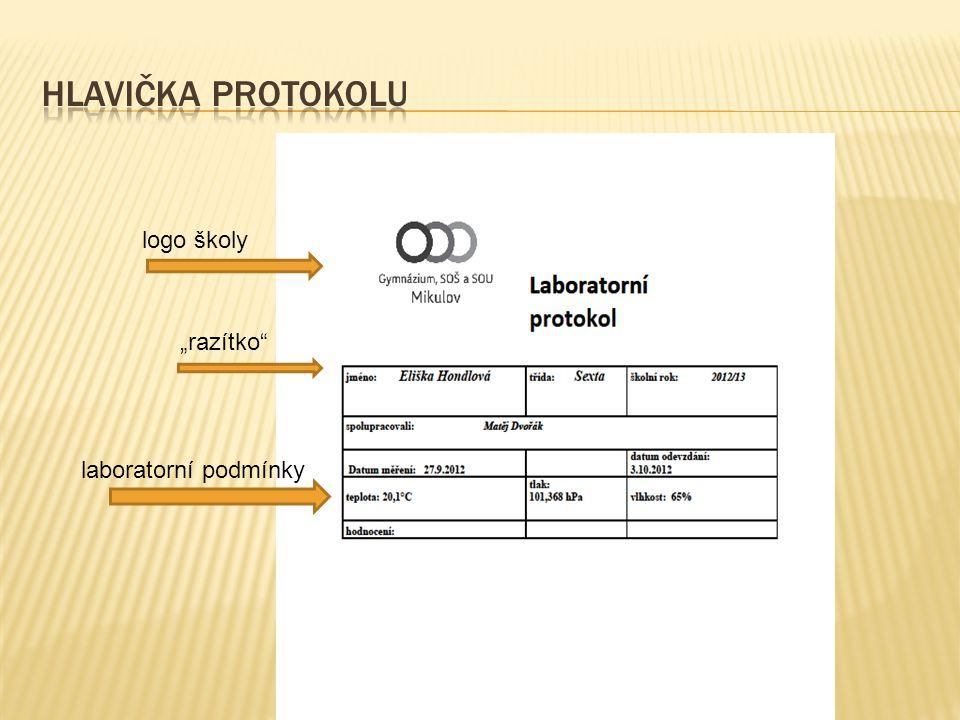 """logo školy """"razítko"""" laboratorní podmínky"""