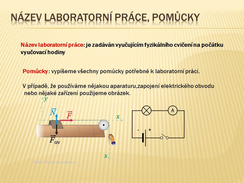 Název laboratorní práce: je zadáván vyučujícím fyzikálního cvičení na počátku vyučovací hodiny Pomůcky : vypíšeme všechny pomůcky potřebné k laborator