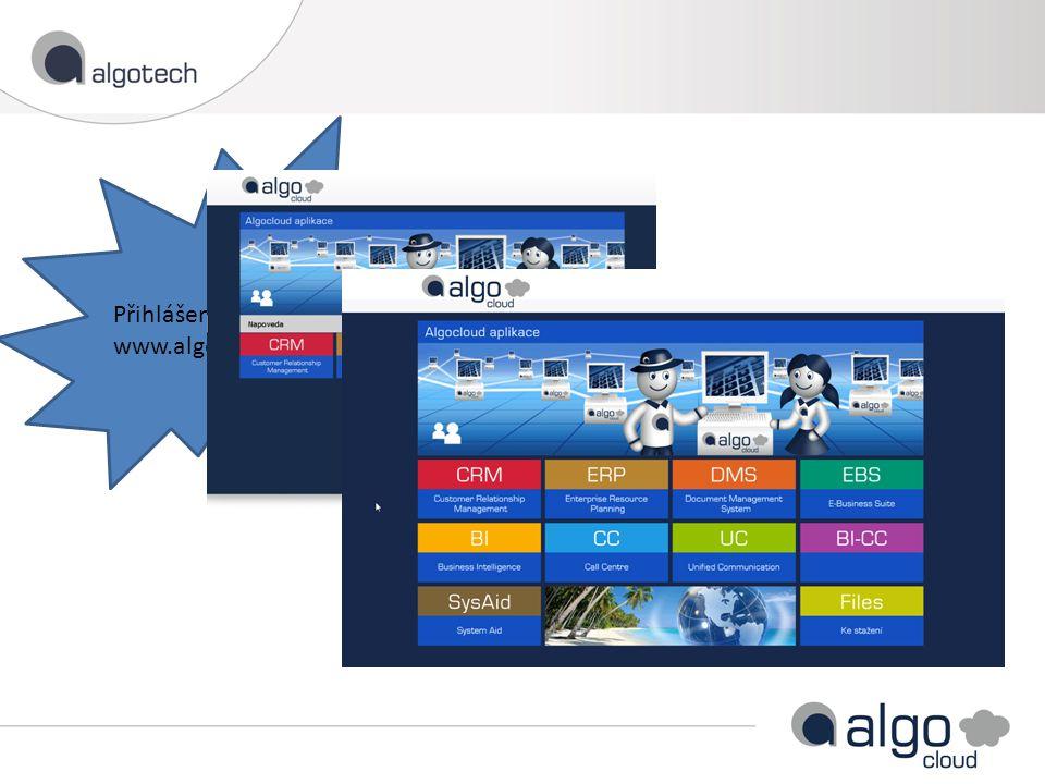 Přihlášení uživatele přes www.algocloud.cz/firma