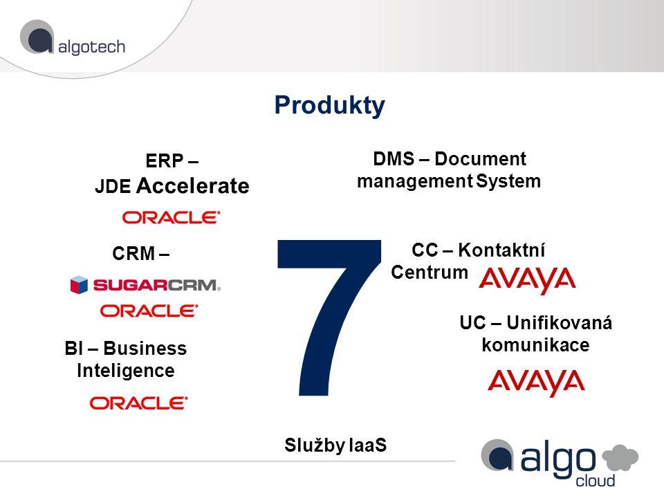 Produkty 7 DMS – Document management System Služby IaaS CC – Kontaktní Centrum UC – Unifikovaná komunikace ERP – JDE Accelerate BI – Business Inteligence CRM –