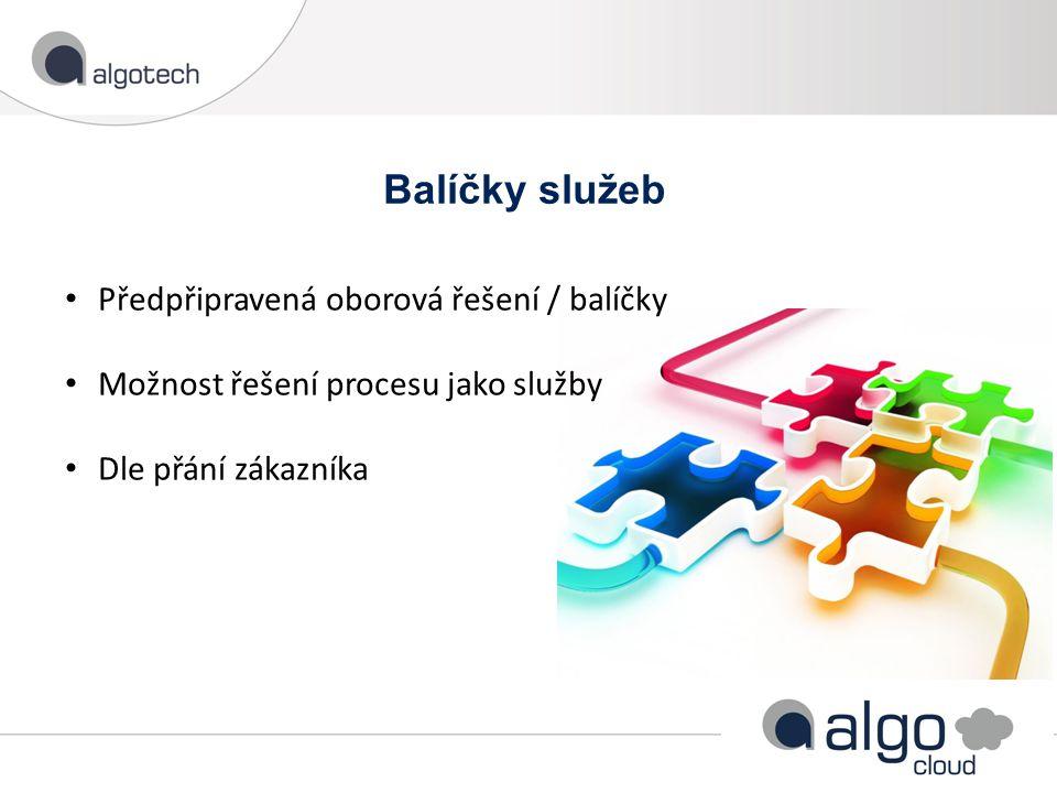 Balíčky služeb Předpřipravená oborová řešení / balíčky Možnost řešení procesu jako služby Dle přání zákazníka