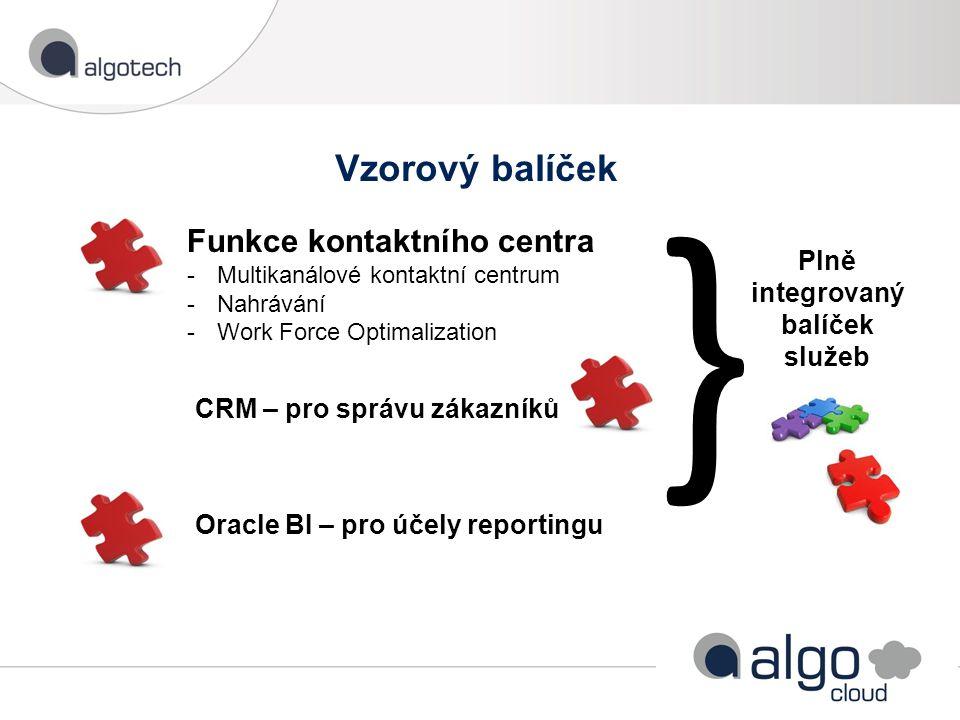 Vzorový balíček Funkce kontaktního centra -Multikanálové kontaktní centrum -Nahrávání -Work Force Optimalization CRM – pro správu zákazníků Oracle BI – pro účely reportingu } Plně integrovaný balíček služeb